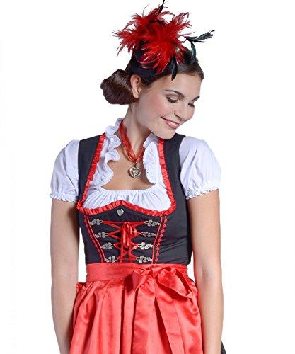 donnerlittchen! Mini-Dirndl Sophie inklusive Bluse und Schürze Schwarz/Rot 32-46 Trachtenkleid Tracht neu, Größe:44