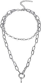 7th Moon Lock Pendant Necklace Statement Long Chain Punk Multilayer Choker Necklace for Women Men