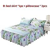 kingpo Bed Cover - Falda de Cama de Tres Piezas, Doble Capa, Ventana, algodón de Aloe, Apta para la Piel, de una Pieza - Hada de Las Flores/Rima Elegante (1.5 2 M)