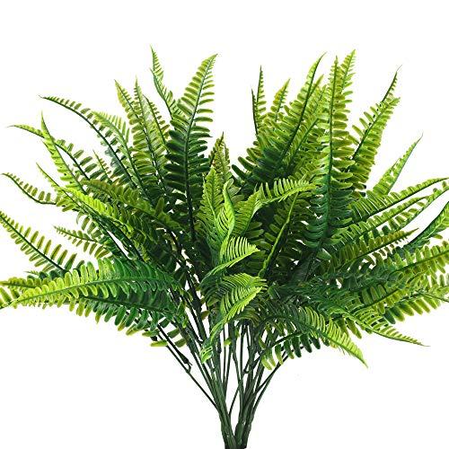 HUAESIN 4pcs Künstliche Pflanzen Farn Kunstpflanzen Sommer Plastikpflanzen Farn Dekopflanzen Grün für Balkon Garten Büro Innen Topf Zuhause Hochzeit Dekoration