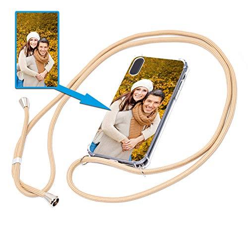 PixiPrints Personalisierte Handykette Foto-Handyhülle mit Band selbst gestalten * Bedruckt mit eigenem Foto und Text, Kompatibel mit Apple iPhone 5 / 5S / SE, Farbe: Gold Beige