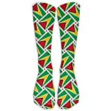FUNINDIY Guyana Flag Weave Compression Socks Soccer Socks High Socks Long Socks for Running,Medical,Athletic,Edema,Diabetic,Varicose Veins,Travel,Pregnancy,Shin Splints,Nursing.
