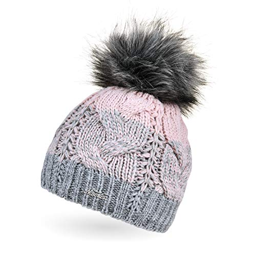 Neverless® Damen Strick-Mütze gefüttert Fleece-Innenfutter Fell-Bommel Kunstfell Winter-Mütze Bommelmütze Zopfmuster Mehrfarbig grau-rosa
