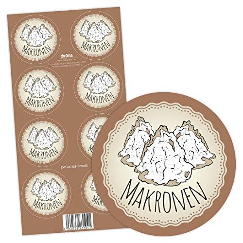 Chroma Products Makronen Aufkleber - Kekse backen (selbstklebend, 8 Stück, 5cm rund)