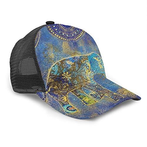 Unisex Baseball Cap Blau Mandala Elefant Asiatisch Orientalische Motive 3D Druck Snapback Caps Einstellbare Mesh Hut Trucker Hüte