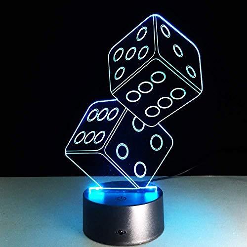ilusión óptica 3D LED Luces nocturnas Póquer de dados De Habitación De Niños Lámpara De Mesa Los Mejores Regalos De Vacaciones De Cumpleaños Para Niños Con interfaz USB, cambio de color colorido
