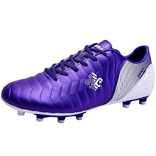 Zapatillas de fútbol Niña FG/TF Profesionales Zapatos de fútbol Aire Libre Atletismo Calzado de Entrenamiento Antideslizante Botas de fútbol para Niños Morado EU 29