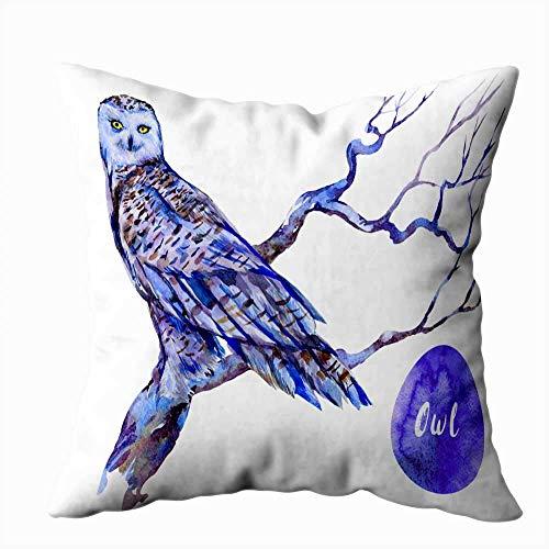 Funda de almohada para el hogar, 50,8 x 50,8 cm, diseño de búho, árbol, acuarela, pájaro, fondo blanco, decoración de almohada con cremallera, fundas para sofá cama