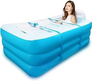 Bañera hinchable plegable, para adultos, para la familia, con base gruesa, para niños, Azul