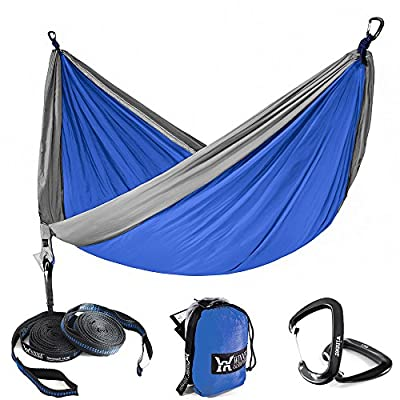 WINNER OUTFITTERS Single & Double Camping Hammock with Tree Straps - Lightweight Nylon Portable Hammock, Best Parachute Double Hammock for Backpacking, Camping, Travel, Beach, Yard