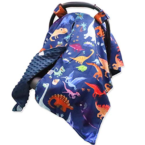 Dinosaur Baby Car Seat Canopy Soft Minky Plush Dotted Backing Baby Car Seat Cover Breastfeeding Cover Nursing Cover for Baby Boys and Girls