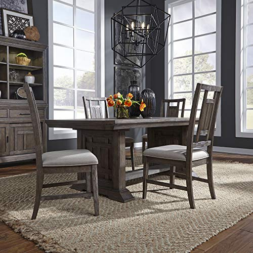 Liberty Furniture Industries Artisan Prairie Opt 5 Piece Trestle Table Set, W40 x D96 x H30, Dark Brown