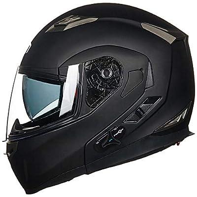 ILM Bluetooth Integrated Modular Flip up Full Face Motorcycle Helmet Sun Shield 6 Riders Group Intercom Mp3 (M, Matte Black) from ILM