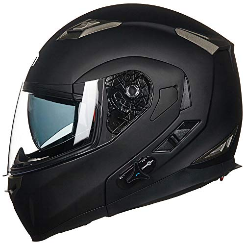 ILM Bluetooth Integrated Modular Flip up Full Face Motorcycle Helmet Sun Shield 6 Riders Group...