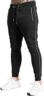 A WATERWANG Men's Stripe Sweatpants Skinny Joggers Athletic Track Pants for Running Workout