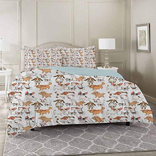 YUAZHOQI Dog Lover Duvet Cover Set Twin, Cartoon Style Chihuahua Terrier Bulldog and Beagle Funny Characters Purebre Decorative 3 Piece Bedding Set with 2 Pillow Shams
