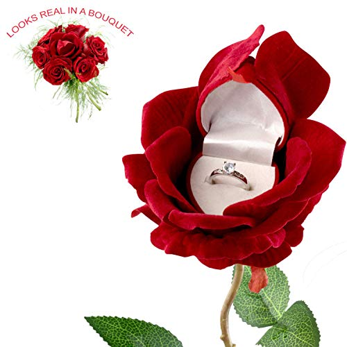 Noble Rose Heart Flower Blossom Ring Box for Gift/Ceremony/Proposal/Engagement/Wedding Jewelry Box (Red)
