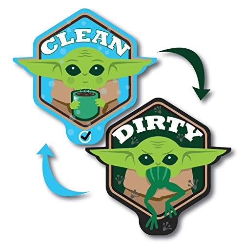 Baby Yoda Waterproof Dishwasher Magnet Clean Dirty Sign Double Sided Unique Shape with Bonus Adhesive Metal Plate Star Wars Mandalorian Fridge Magnet Cute Baby Yoda The Child Kitchen Accessory