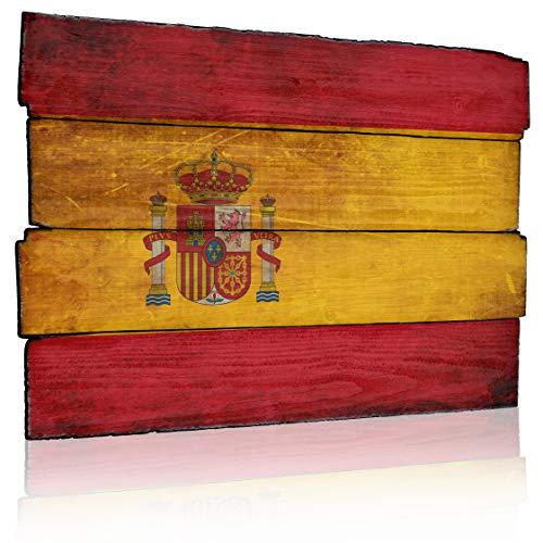 MEGADECOR Cuadro Impreso en PVC Efecto Tablas de Madera, 62cm x 40,5cm, Bandera De España, Vintage