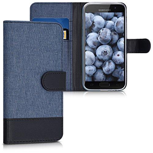 kwmobile Samsung Galaxy A3 (2017) Hülle - Kunstleder Wallet Case für Samsung Galaxy A3 (2017) mit Kartenfächern & Stand - Dunkelblau Schwarz