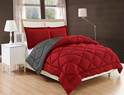 Elegant Comfort All Season Comforter and Year Round Medium Weight Super Soft Down Alternative Reversible 2-Piece Comforter Set, Twin/Twin XL, Burgundy/Grey