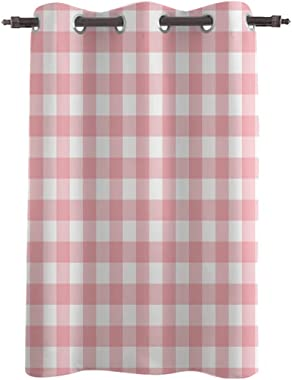 Amaze-Home Decorative Curtains Window Drapes Pink Gingham Buffalo Check Printed Printed Door Treatments (One Panel) for Kids Bedroom,Living/Dining Room, 52 Wx36 L Inch