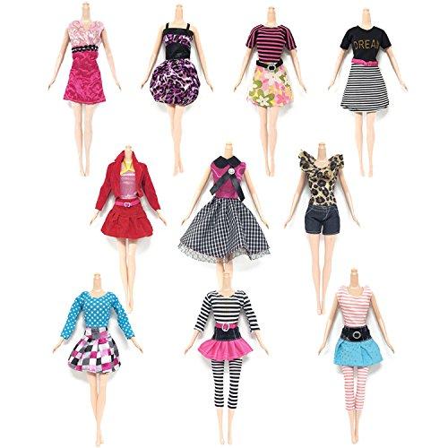 Kleid für Barbie,Beetest 10 Stück Mode Mädchen Puppe Spielzeug Kleider Kleid Outfits Kleidung Zubehör für Barbie Spielzeug Kinder Mädchen Geburtstag Weihnachten