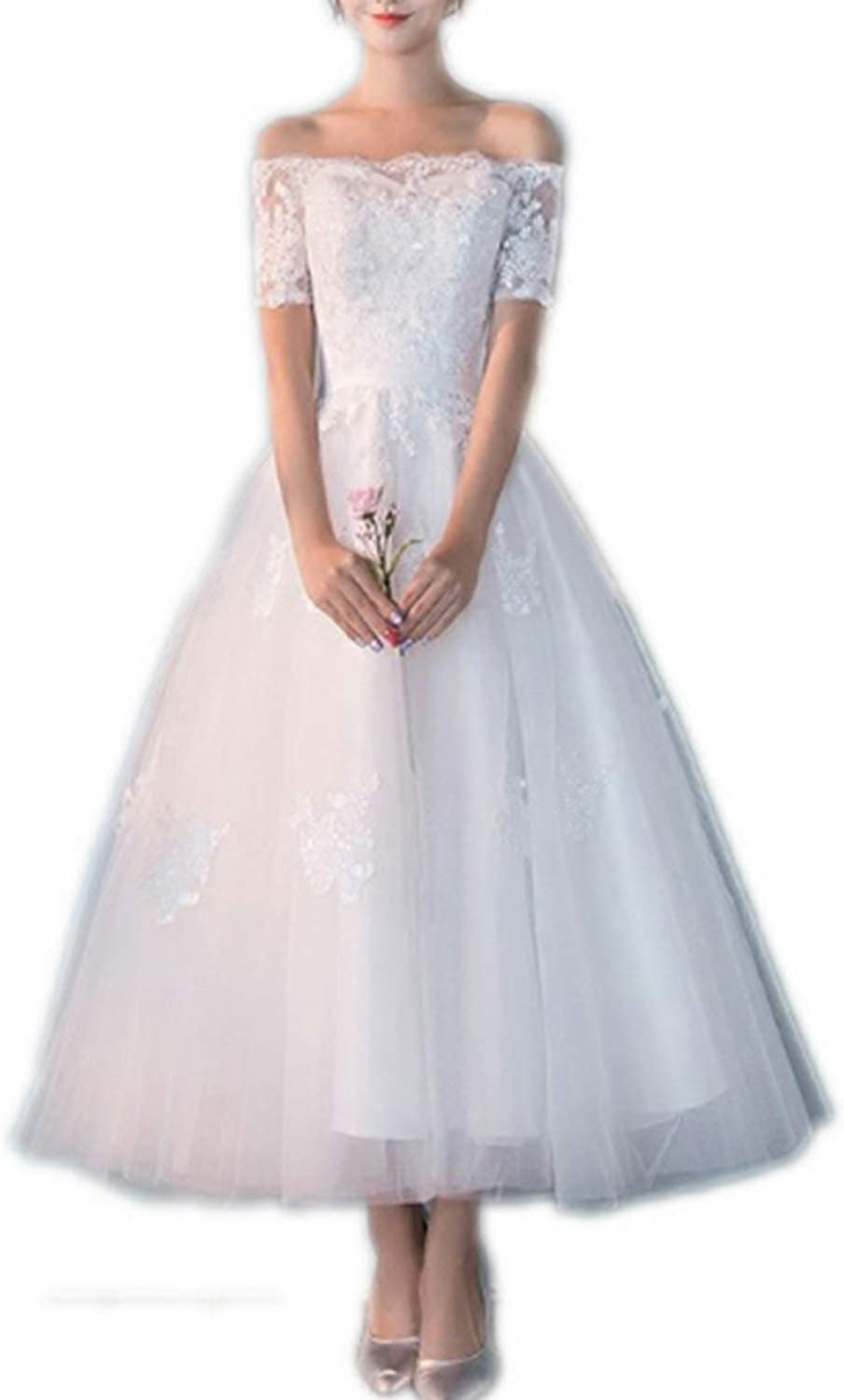 Bridal Wedding Bud Silk Gauze Applique Elegant Word Shoulder Wedding Dress (Size   M)