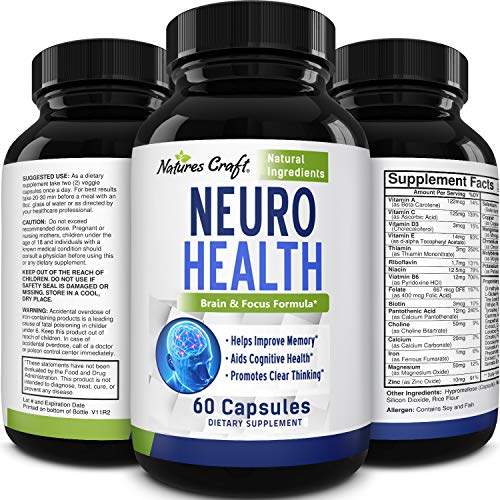 Nootropics Brain Supplement Support - Memory Booster for Mind Focus Reduce Anxiety - DMAE Pills for Concentration Improve Brain Function, Nuero & IQ with Bacopa Monnieri L-Glutamine for Men and Women