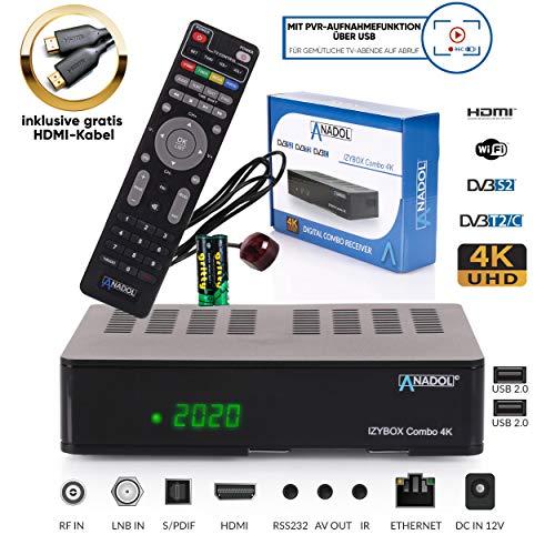 ANADOL IZYBOX Combo 4K Sat-Receiver, Kabel-Receiver oder DVB-T2-Receiver, DVB-S2X Tuner, Multistream, 2X USB, Kartenleser, Astra vorinstalliert, PVR Aufnahmefunktion, Timeshift, HDR, inkl. HDMI Kabel