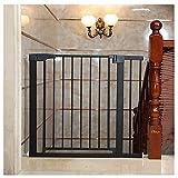 Valla protectora de la puerta de las escaleras sin perforaciones, valla de la puerta de seguridad, valla protectora del aislamiento del hogar, simplemente cierre la (Size:75-82+7cm,Color:negro)