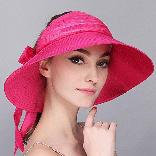 ZX-cappello Donna Estate Visiera Cappello A Cilindro Vuoto Protezione Solare Pieghevole Cappello da Sole Grande Vantaggio Marina Vacanza Berretto da Spiaggia (Colore : Rosa Rossa)