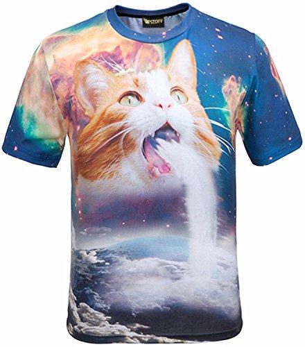 (ピゾフ)Pizoff メンズ 猫柄 Tシャツ 丸首半袖 ネコ柄 キャラクシー柄 原宿系 おもしろ 個性的 快適 カジュアル V系 男女兼用 トップス Y1648-60-XL