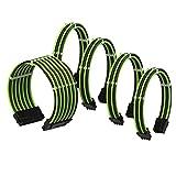 LINKUP - Cable con Manguito - Prolongación de Cable para Fuente de Alimentación con Kit de Alineadores | 1x 24 Pines (20+4) MB | 2X 8 Pines (4+4) CPU | 2X 8 Pines (6+2) GPU | 30CM 300MM - Verde Negro