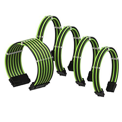 LINKUP - PSU Kabelverlängerung Ummantelt GPU Nach Maß PC Stromversorgung mit Kamm-Kit┃1x 24 P (20+4)┃2X 8 P (4+4) CPU┃2X 8 P (6+2) GPU Set┃30CM 300MM – Grün Shwarz