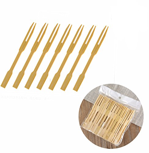 UPlama 600Pcs Bamboo Forks,Wooden Appetizer Forks for Appetizer, Cocktail, Fruit, Pastry, Dessert,3.4inch