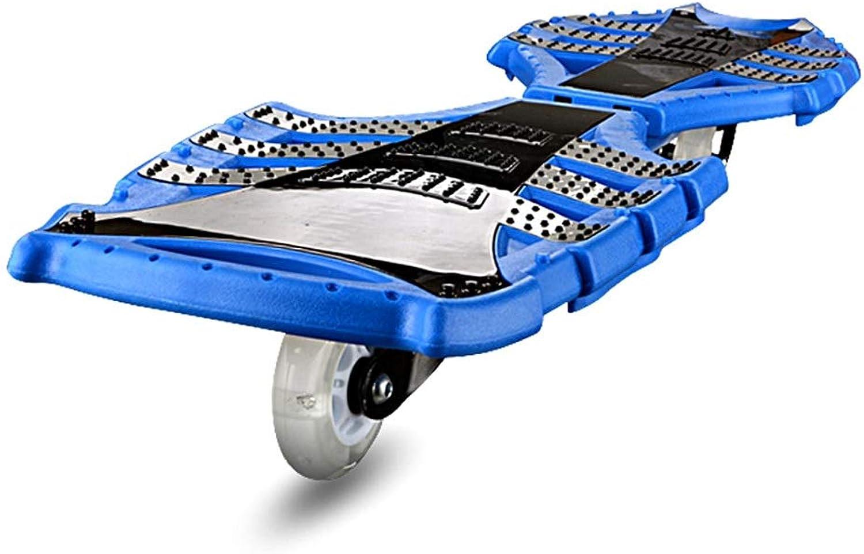 GYY SHOP Schlange Rad Flash Rad Kind Erwachsene Universal 12 cm Boden Verdickung 2 Rad Auto Vitality Board Blau Roller (Farbe   Blau, Größe   82  22  12CM)