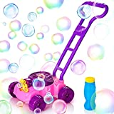 KIDWILL Bubble Machine for Kids, Outdoor Bubble Mower with Bubble Solution, 1000 Bubbles Per Minute, Automatic Bubble Maker for Toddlers Age 3+ (Purple+Pink)