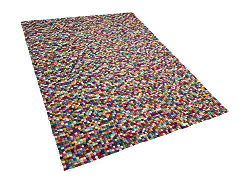 Beliani Teppich rechteckig Wollteppich Filzkugelteppich 160 x 230 cm bunt Amdo