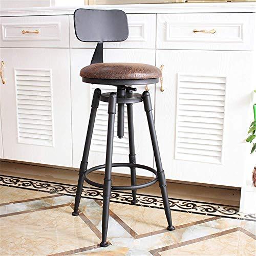 LIJIANZI Trustworthy/Vrij roteerbare barstoel, ronde smeedijzeren houten hoogte verstelbare hoge kruk, keuken restaurant cafe stoel, retro staaf stoel ontwerp stoel, met achterkant