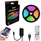 Addressable RGB LED Strip Lights, with APP and Remote, Waterproof 6.6FT/2M USB Light Strip Built-in Digital IC, Color Changing with Music Waterproof LED Strip Lights Kit, LED TV PC Monitor Backlight