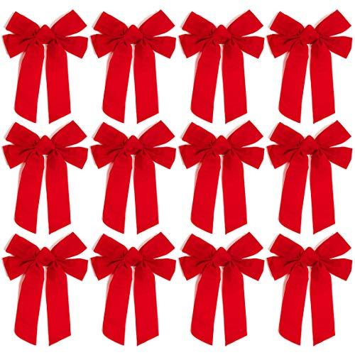 Christmas Bows, Red Velvet Bow (9 x 12 in, 12 Pack)