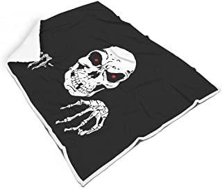 MC83 Blanket Skull Theme Printing Micro Fiber Oversized Throws - Moon Warm Soft Suitable for TV Sofa Use White 60x80 inch