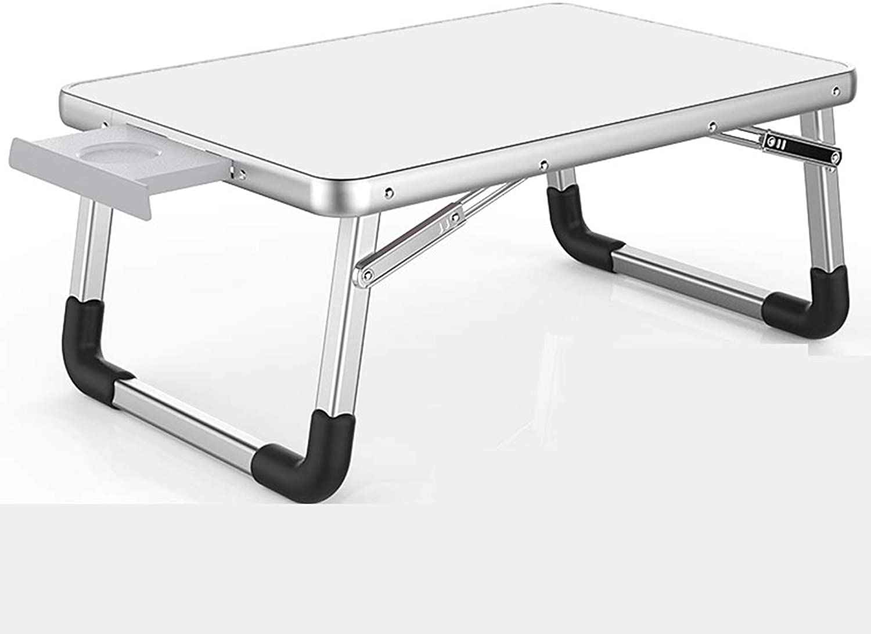 QYSZYG Aluminum Folding Table Home Bed Folding Desk Lightweight Portable Small Dining Table   70 × 50cm, Large Desktop Folding Table (color   White)