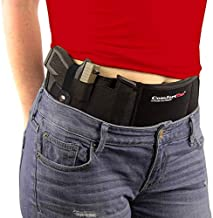 ComfortTac Ultimate Belly Band Gun Holster for Concealed Carry   Compatible with Smith and Wesson, Shield, Glock 19, 17, 42, 43, P238, Ruger LCP, and Similar Guns for Men and Women (Black, XL, Right)