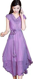 シフォン ドレス スリムフィット Vネック OL通勤 気質 夏 人気の サマースカート スーパー妖精 スリム 腰 レース フェアリースカート 不規則なスカート M-3XL