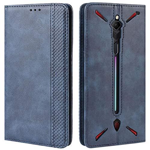 HualuBro Handyhülle für Nubia Red Magic 3 Hülle, Retro Leder Brieftasche Tasche Schutzhülle Handytasche LederHülle Flip Hülle Cover für ZTE Nubia Red Magic 3 - Blau
