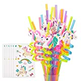 Reusable Unicorn Drinking Plastic Straws + Unicorn Temporary Tattoos for Girls   Unicorn Birthday Party Supplies - Rainbow Unicorn Party Favors Decorations - Set of 30 with Cleaning Brush