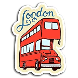 2 x 10cm Red London Bus Vinyl Stickers - Travel Sticker Laptop Luggage #19476 (10cm Tall)