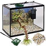 Urbn Living 18 Litres Verre Aquarium Starter Set avec Pompe Filtre Filet Plante Pierres